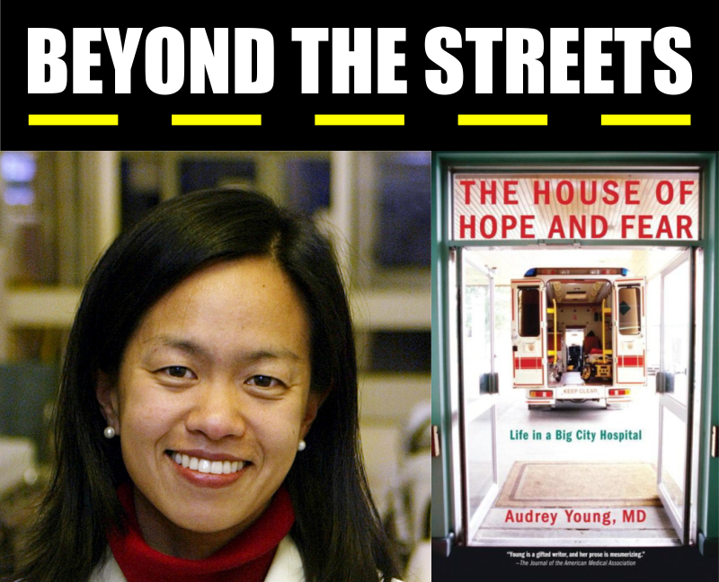 Beyond the Streets logo above a portrait photo of Audrey Young and cover of her book 'The House of Hope and Fear'