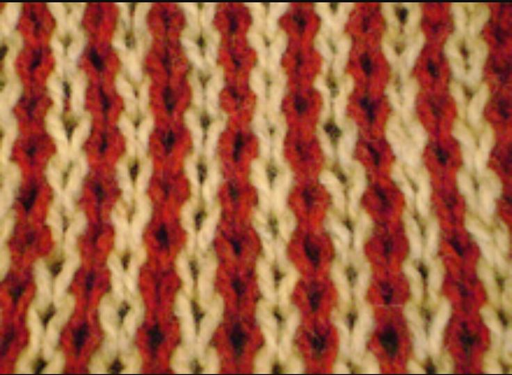 Close up of gold and red knitted material.