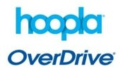 Hoopla and Overdrive logos in blue