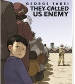Cover art from They Called Us the Enemy by George Takei showing a young child looking back with fear while waiting in line