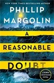 Image of book cover A Reasonable Doubt showing a rainy night, a lighthouse, and crashing waves