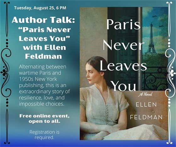 Graphic showing details of author talk along with the book cover of Paris Never Leaves You, which features a young woman seated on a sofa looking pensive