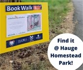 Photo showing outdoor sign with book page attached for reading while taking a walk