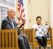 Congressman Rick Larsen on stage with Librarian of Congress Carla Hayden