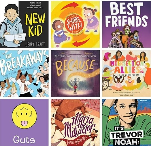 Grid showing nine book covers for children