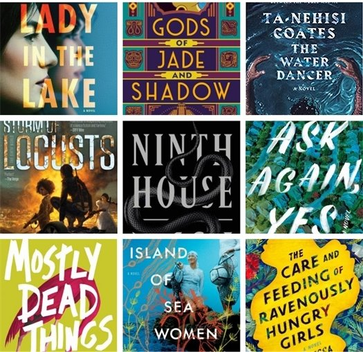 Grid showing nine adult fiction book covers
