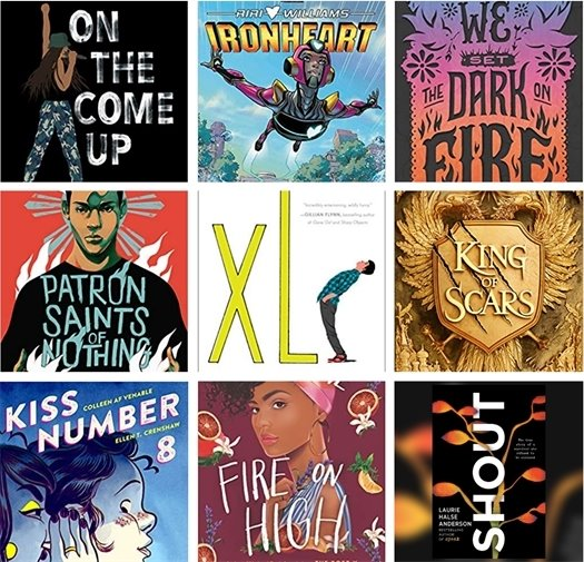 Grid showing nine book cover for teens