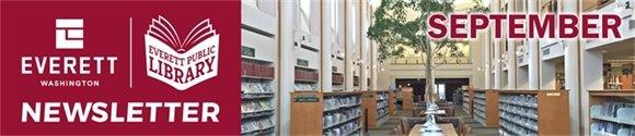 Photo of Reading Room and words Everett Public Library Newsletter, September