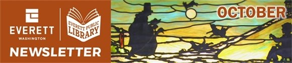 Image of stained glass window at library depicting Mother Goose, with words Everett Public Library October Newsletter