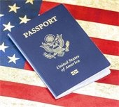 Image of U.S. Passport on an American flag background