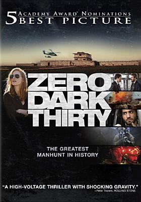 Image of the DVD cover of the movie Zero Dark Thirty showing desert bunker and plane