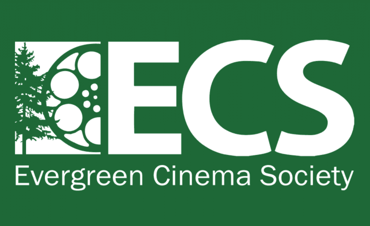 Evergreen Cinema Society logo featuring a film reel and evergreen tree silhouette with ECS in white