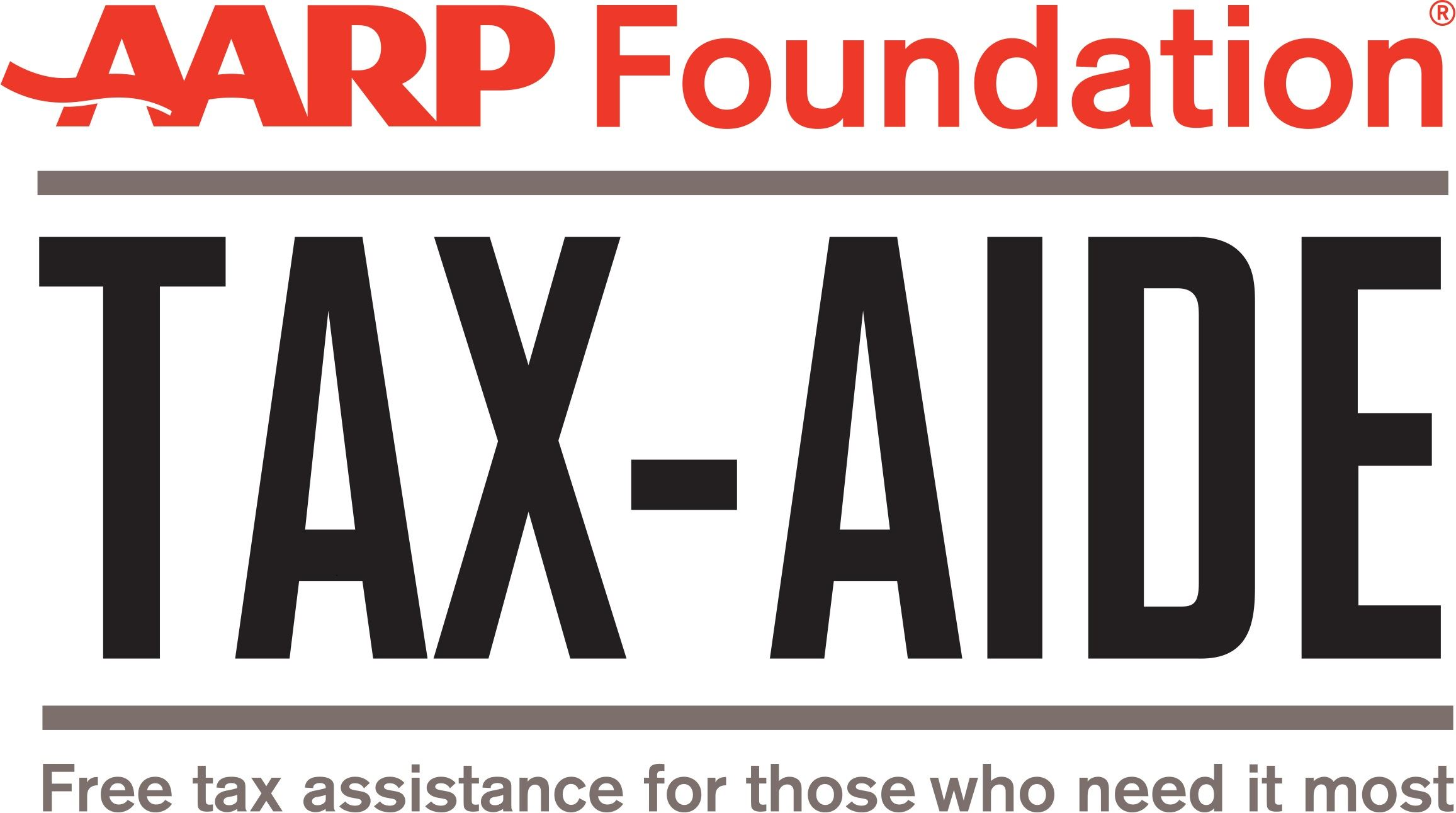 AARP Tax Aide logo in red grey and black lettering