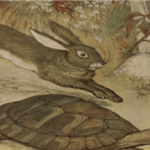 Illustration of the tortoise and the hare.