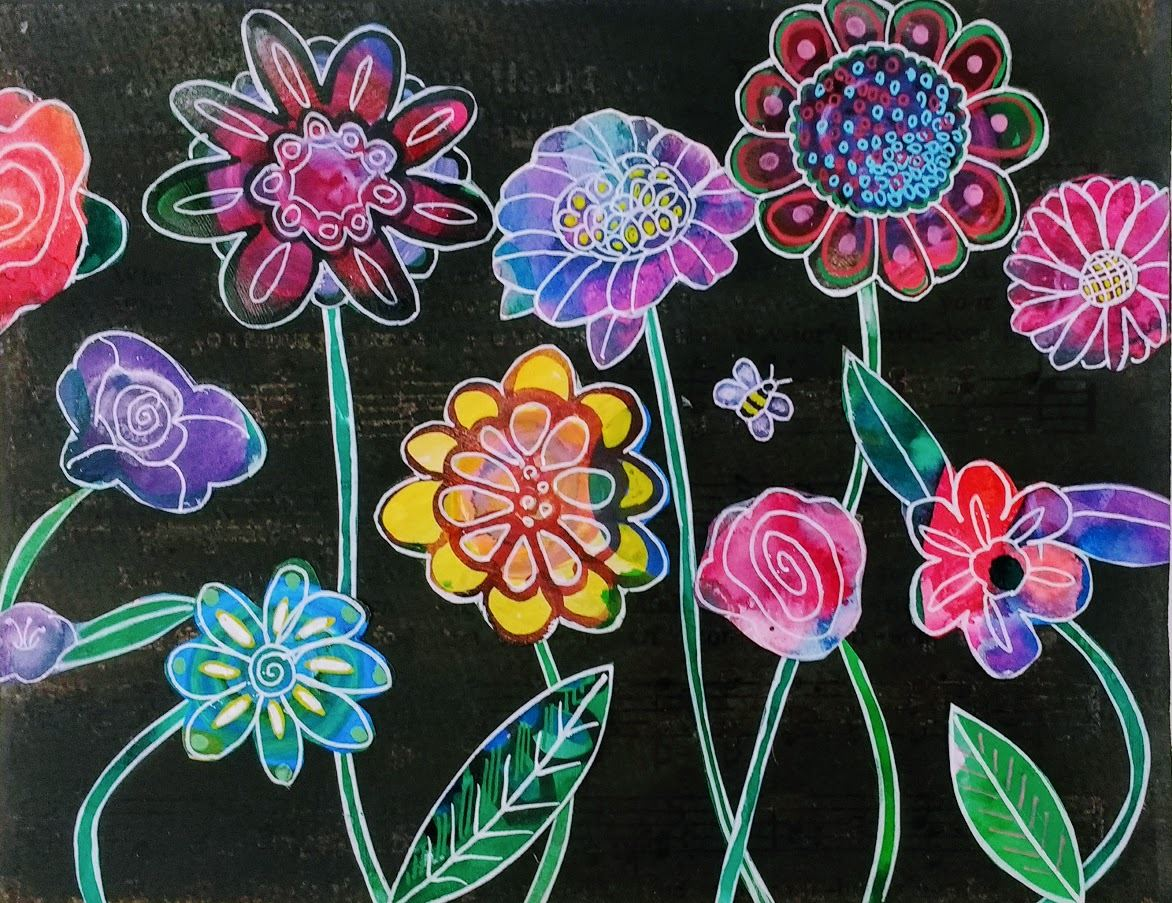 watercolor of bright colored flowers on a black background