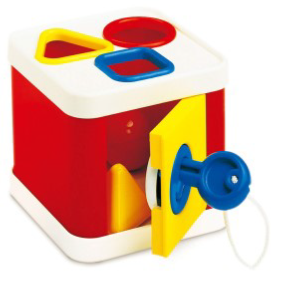 Colorful locking shape sorting box.