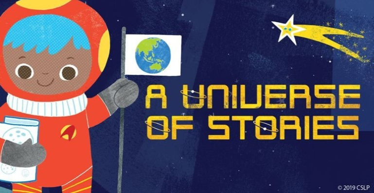 Colorful graphic that says A Universe of Stories and features a space scene with a cute little astro