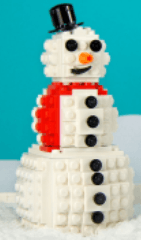 Image of a snowman made out of small bricks