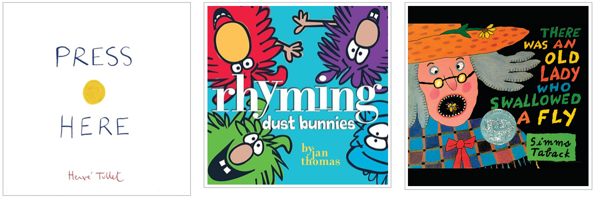 three books - press here and rhyming dust bunnies and there was an old lady who swallowed a fly