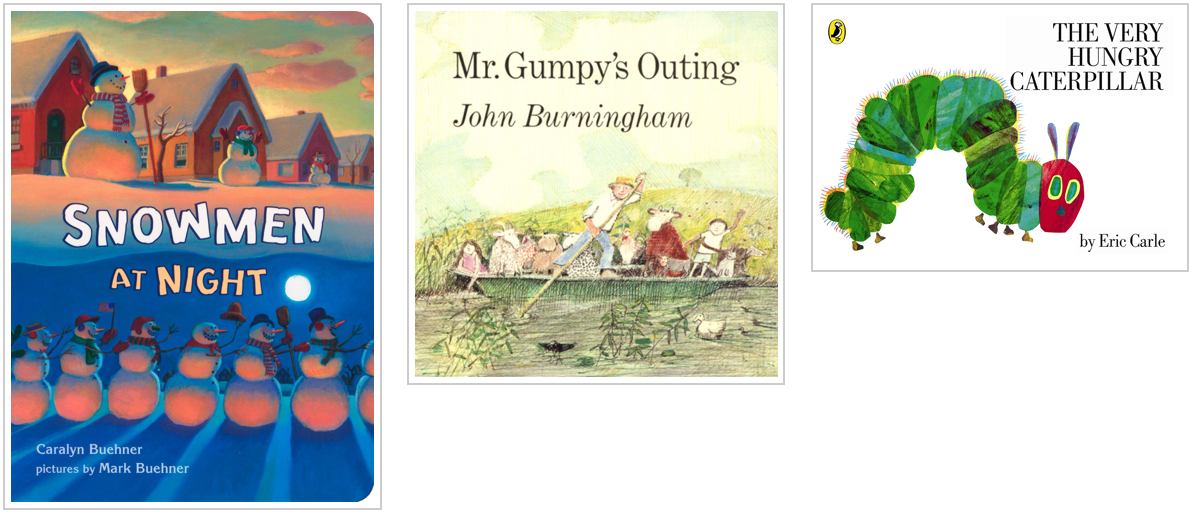 Three Books - Snowmen at Night and Mr Grumpys Outing and The Very Hungry Caterpillar