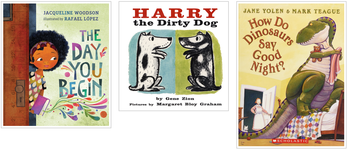 Three Books - The day you begin and harry the dirty dog and how do dinosaurs say good night