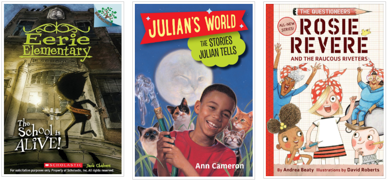 Three Books - Eerie Elementary and Julians World and Rosie Revere