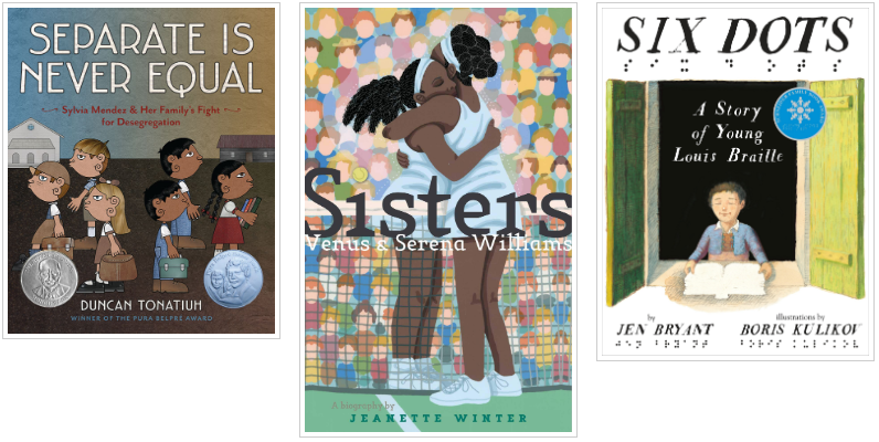 Three Books - Separate is Never Equal and Sisters Venus and Serena Williams and Six Dots