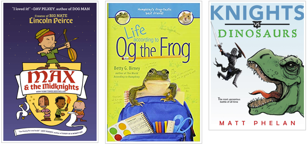 Three Books - Max and the Midknights and Life According to Og the Frog and Knights vs Dinosaurs