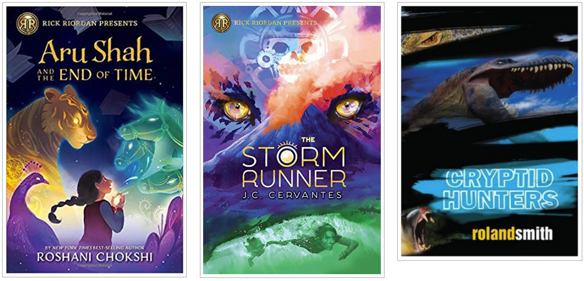 Three Books - Aru Shah and the End of Time and The Storm Runner and Cryptid Hunters