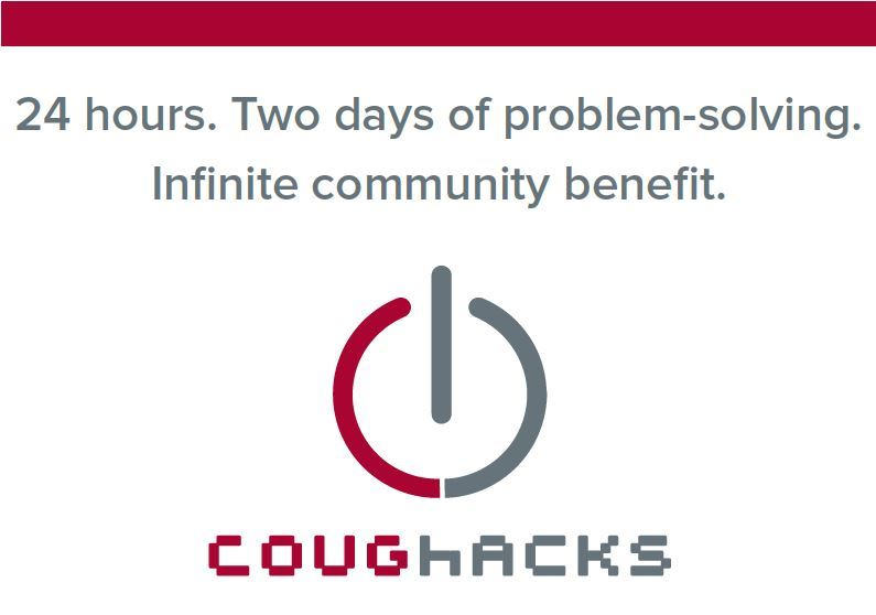 "Flyer image for CougHacks stating ""24 hours. Two days of problem solving. Infinite community bene"