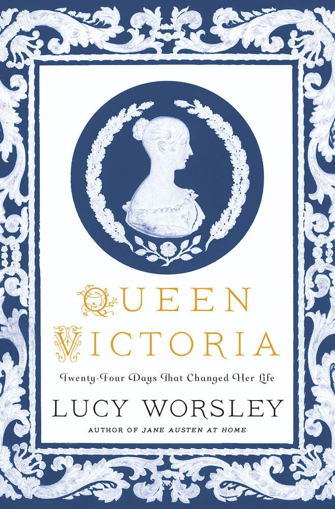 Book cover of Queen Victoria Twenty Days that Changed Her Life in blue and white with profile of the