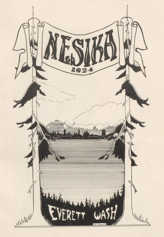 drawing of trees framing the Everett skyline with water in the foreground and a Nesika 1924 banner o