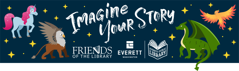 Summer Reading Logo, Imagine your story, Thank you to our sponsor - Friends of the Everett Public Li