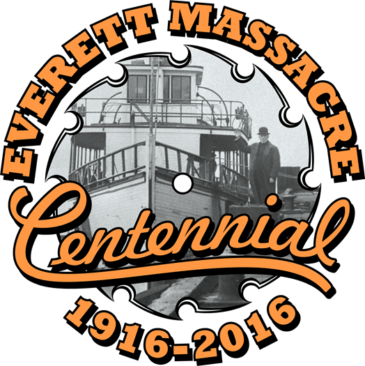 Logo for event series with text Everett Massacre Centennial 1916-2016