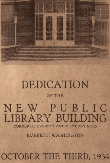 1934 document with image of library doors and &#39Dedication of the New Library Building corner of E