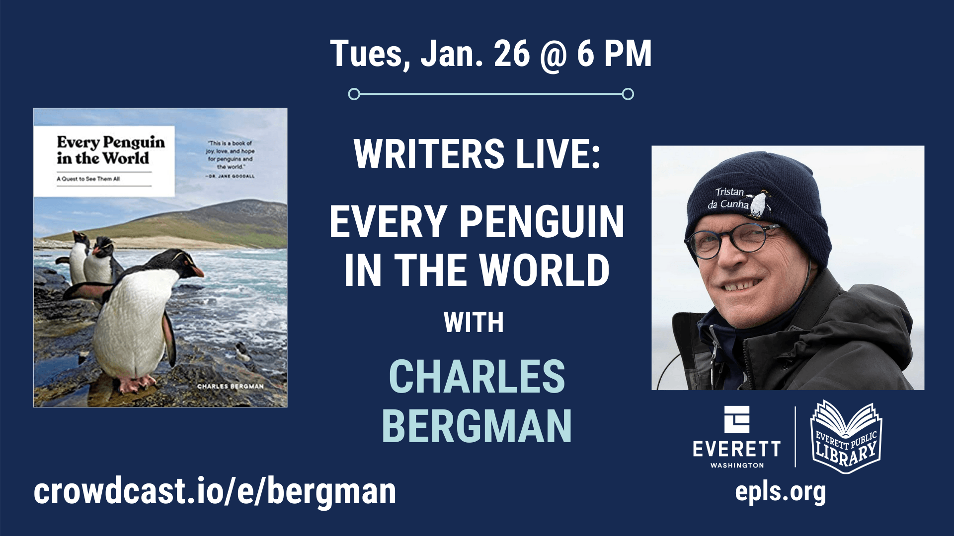 Graphic in navy with photo of author and photo of penguins, along with program details,