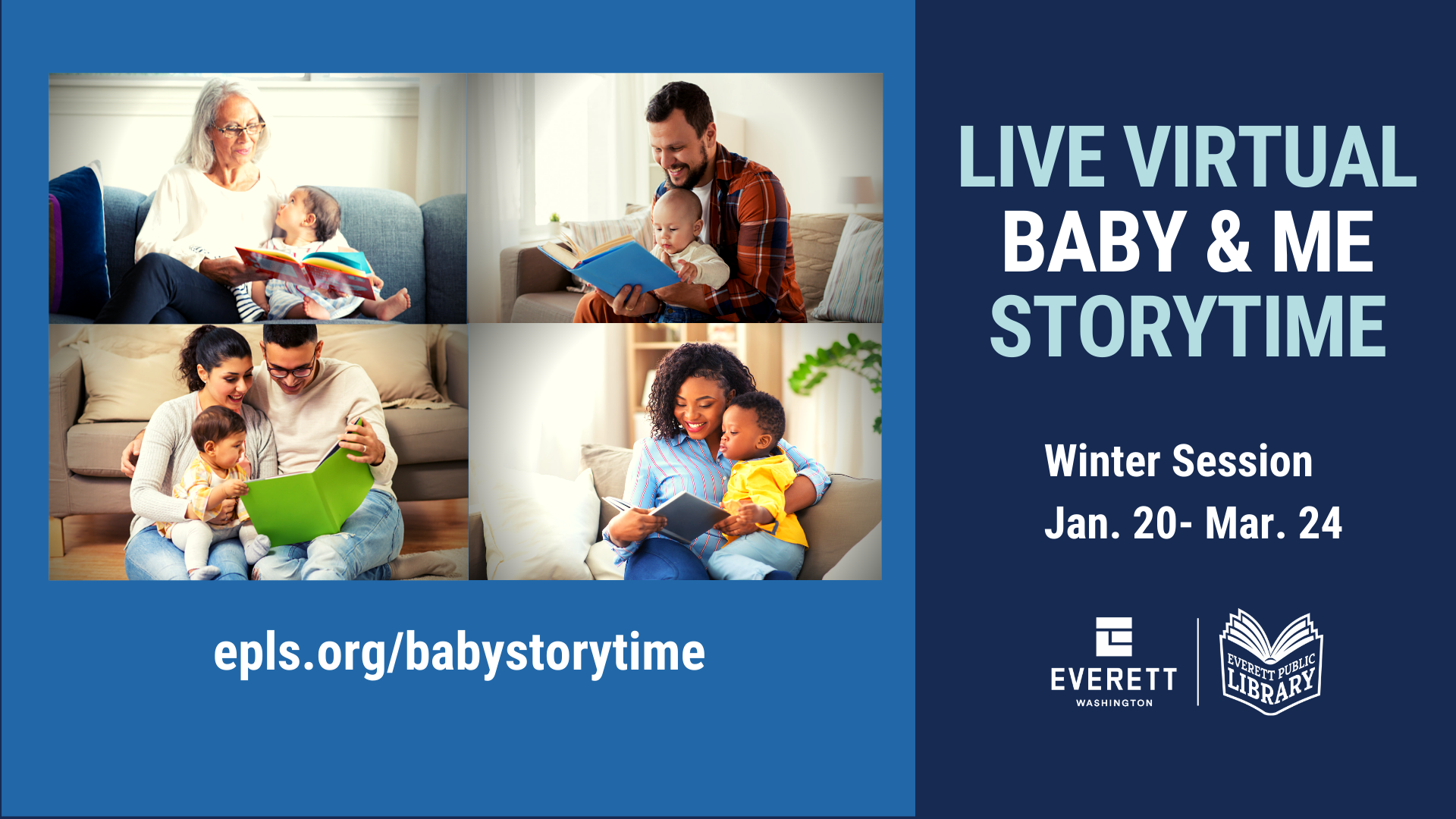 Live Virtual Baby and Me Storytime, Winter session Jan 30 - March 24