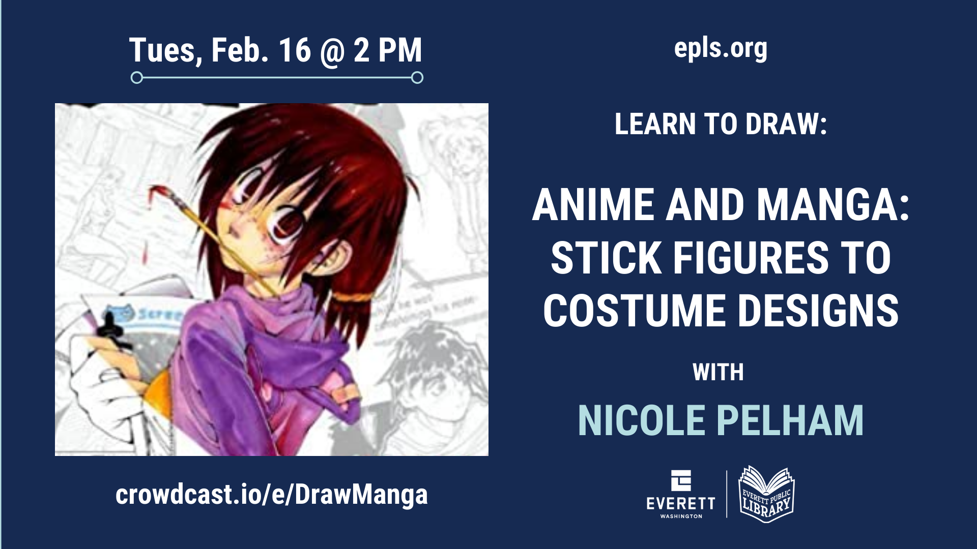 Image of the Learn to Draw Anime and Manga Characters flier for the event February 16 at 2pm.