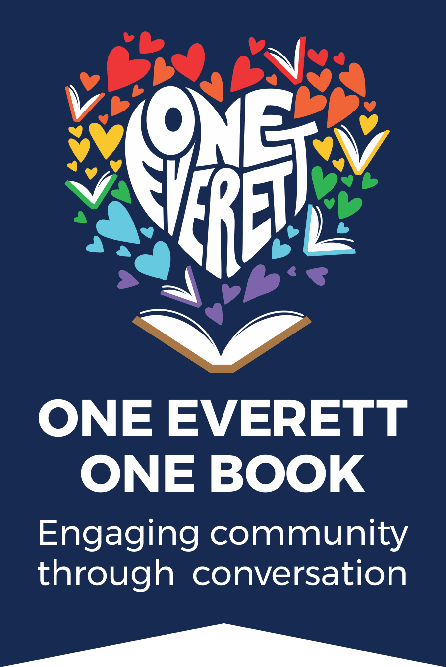 One Everett One Book logo illustration of word Everett surrounded by hearts and books