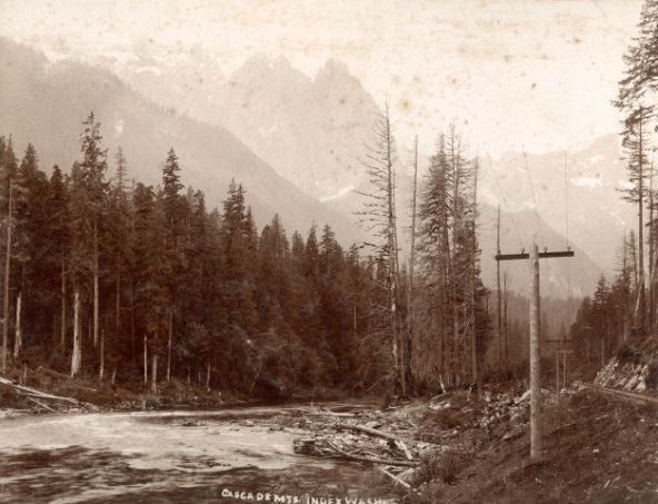 Historic photo of Mt. Index and the South Fork Skykomish River circa 1900