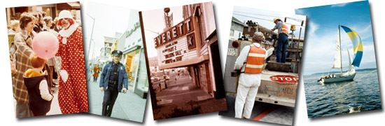 collage of 5 of House's photos; clown in parade, Everett Police officer, Everett theater marquee,