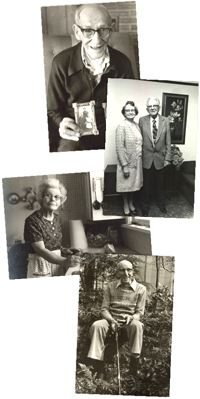 vertical arrangement of black and white photos from the Oral History Collection