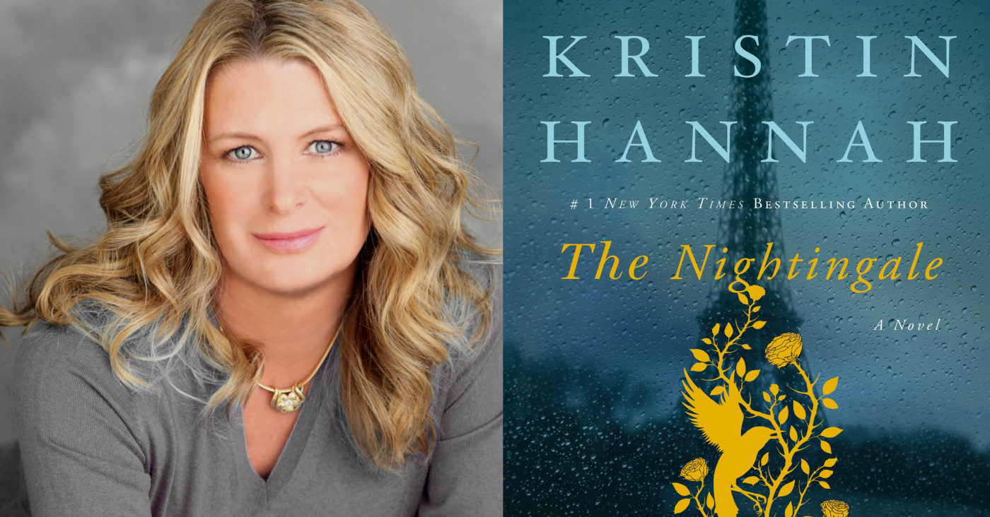 Kristin Hannah photo and book cover The Nightingale