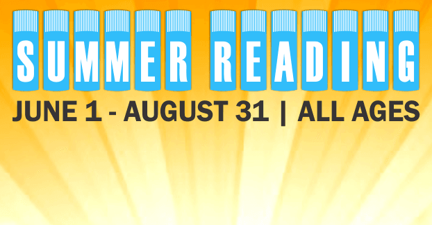 "Graphic of white letters on blue book spines spelling the words ""Summer Reading"" and ""June"
