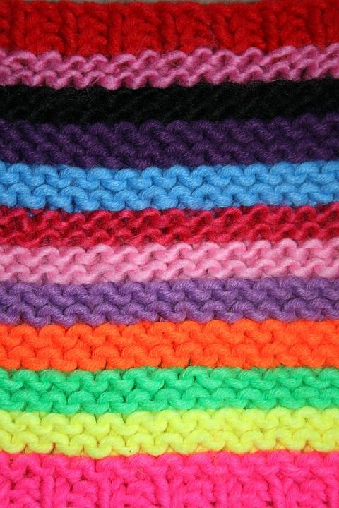 Rainbow colored knitted fabric