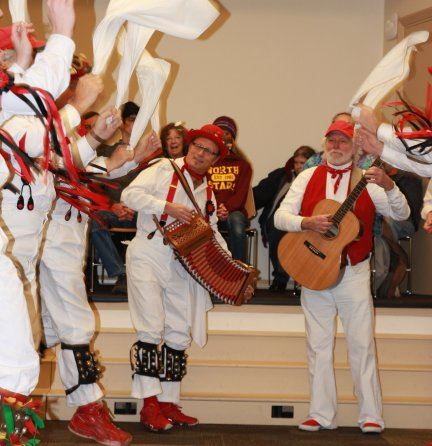 Photo of the Mossyback Morris Men performing in the Everett Public Library Auditorium