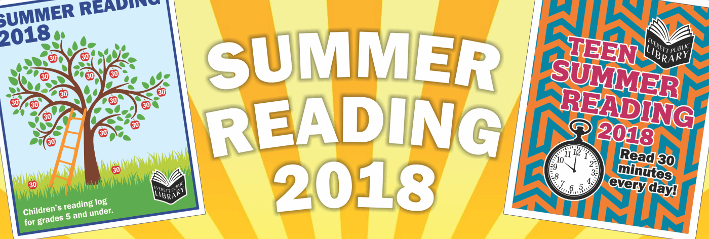Summer Reading 2018 with cover photos of the youth and teen summer reading logs on a sun background