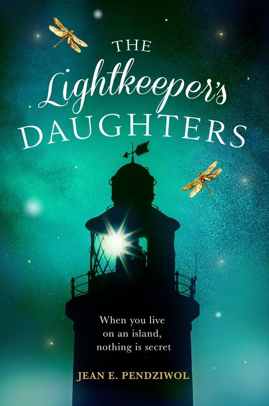 Book cover of The Lightkeeper's Daughters by Jean Pendziwol showing a lighthouse against the nigh