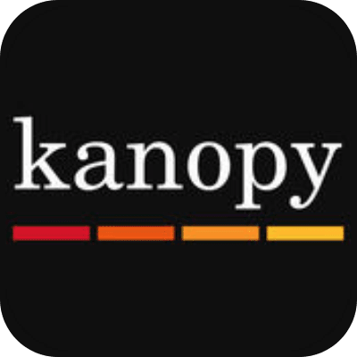 the word 'kanopy' in white letters above four red, orange, and yellow bars on a black backgrou