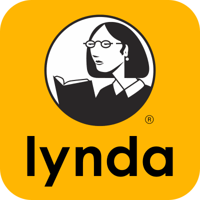 a yellow box with a black and white circle, containing a line drawing of a woman reading a book and